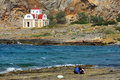 Greek church on the sea shore Royalty Free Stock Photography