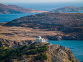 Greek church top on a hill near ocean orthodox build of panoramic view over the and some islands Stock Images