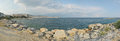 Greek coast panorama of sea town of kavala on the Royalty Free Stock Images