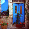 Greek door Royalty Free Stock Photography