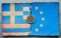 Greek euro flag dividing and european grunge background Royalty Free Stock Photography