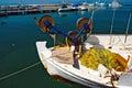 Greek fishing boat at cyclades islands Royalty Free Stock Image