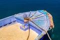 Greek fishing boat at cyclades islands greece Royalty Free Stock Photo
