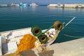 Greek fishing boat at cyclades islands greece Royalty Free Stock Photos