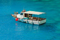 Greek fishing boat at cyclades islands greece Stock Photo