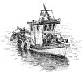 Greek fishing boat vector drawing of the traditional Royalty Free Stock Photos