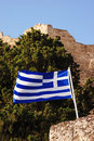 Greek flag Stock Photo