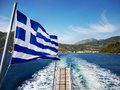 Greek Flag on Boat Royalty Free Stock Photo