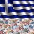 Greek Flag With Euros