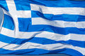 Greek flag greece national waving in the wind Stock Photography