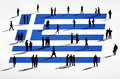 Greek Flag And A Group Of Busi...