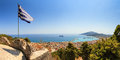 Greek flag panorama beautiful looking over the city and harbor of zakynthos on the island zakynthos greece Stock Photography