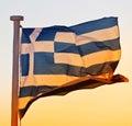 Greek flag in santorini Royalty Free Stock Photo
