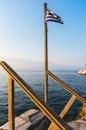 Greek flag and sea Royalty Free Stock Photo