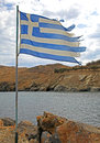 Greek flag at small village panormo at crete greece Stock Photos