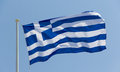Greek flag waving Stock Image