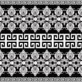 Greek floral meanders seamless border pattern. Vector black and