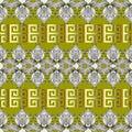 Greek floral meanders seamless border pattern. Vector light gree