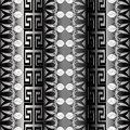 Greek floral meanders seamless pattern. Vector silver abstract r