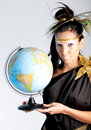 Greek goddess with a globe Stock Photo