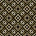 Greek gold geometric vector seamless pattern. Ornamental tribal background. Repeat ethnic backdrop. Abstract greek key Royalty Free Stock Photo