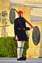 Greek guard photo of an evzone national at the parliament in athens greece Royalty Free Stock Photography