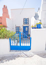 Greek house in blue and white. Stock Photo