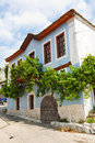 Greek house with vine in a summer day Stock Images