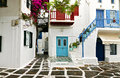 Greek houses at mykonos island traditional streets and of in greece Royalty Free Stock Photo