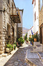 Greek island alley a picturesque on the hydra which depicts some of the local architecture Royalty Free Stock Images