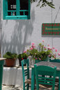 Greek island cafe Folegandros Cyclades island Gree Stock Photos
