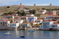 The greek island chalki in harbor of Royalty Free Stock Image