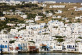 Greek island mykonos is popular tourist destination for cruises Royalty Free Stock Photos