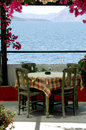 Greek island taverna scene Santorini Stock Photo