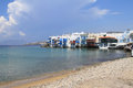 Greek islands little venice of mykonos greece Royalty Free Stock Photos