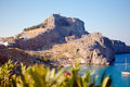 Greek islands rhodes lindos bay greece Royalty Free Stock Photography