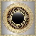 Greek key meanders round 3d mandala pattern. Ornamental grecian style greece square frame background. Modern geometric abstract