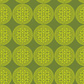 Greek key round circles green seamless background symbolism of infinity eternity unity in chartreuse and yellow colours design Royalty Free Stock Photo