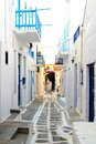 Greek lane whitewashed street in the old town of mykonos greece Royalty Free Stock Photos