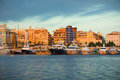 Greek marina view of the zea in piraeus athens greece under the morning light Stock Photography