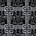 Greek meanders seamless pattern. Floral black white tapestry roses background. Modern 3d wallpaper. Embroidery vector roses