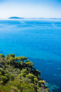 Greek mediterranean coast with beautiful blue tones of Aegean sea in Sithonia Royalty Free Stock Photo