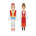 Greek national costume illustration of dress on white background Stock Photography