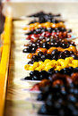 Greek olives on the sun a market stall with a variety of in thessaloniki greece is amongst largest producers of and olive oil rn Royalty Free Stock Photos