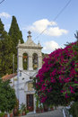 Greek orthodox church in fodele with bellfry crete Royalty Free Stock Images