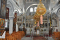 Greek orthodox church interior of a big on samos Royalty Free Stock Image