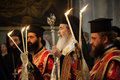 Greek Orthodox mass at Church of the Holy Sepulchre Royalty Free Stock Photo