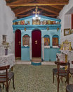 Greek orthodox small church interior historic Stock Photos