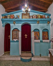Greek orthodox small church interior historic Royalty Free Stock Photo