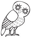 Greek owl sign, symbol Stock Photos